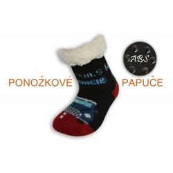 Huňaté ponožkové papuče s autom - čierne