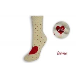 Teplé protišmykové ponožky so srdiečkom