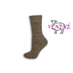 OVEČKY. Dámske vlnené hnedé ponožky