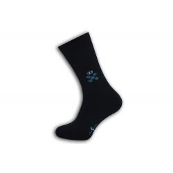 Modré teplé pánske ponožky so vzorom