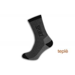 Sport. Teplé ponožky s voľným lemom - šedé