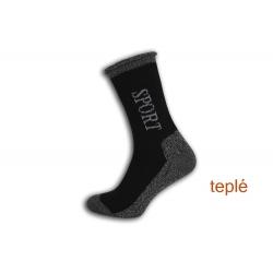 Sport. Teplé ponožky s voľným lemom - čierne
