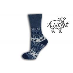 Zdravotné vlnené teplé ponožky s jeleňom - modré