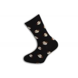 Čierne detské ponožky s ovečkami