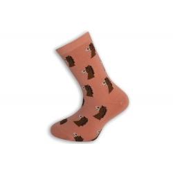 Marhuľové detské ponožky s koníkmi