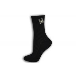 Čierne dámske ponožky s motýľom