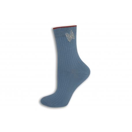 Modré dámske ponožky s motýľom