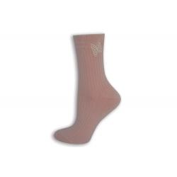 Ružové dámske ponožky s motýľom