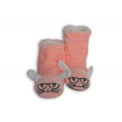 Lososové detské papuče so zajačikom