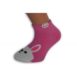 Krátke detské ponožky - ružové so zajacom