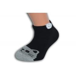 Čierne krátke detské ponožky s mačkou