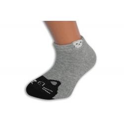 Sivé kotníkové detské ponožky s mačičkou