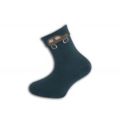 Petrolejové detské ponožky s autom