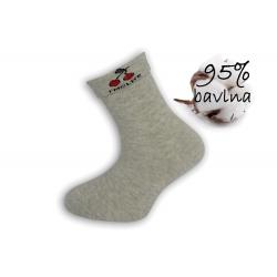Sivé dievčenské ponožky s čerešňami