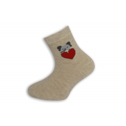 95%-né bavlnené dievčenské ponožky so srdiečkom