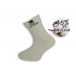 Smotanové dievčenské ponožky s ananásom