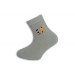95%-né bavlnené písmenkové ponožky - šedé