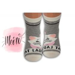 Sivé detské ponožky s mačičkou