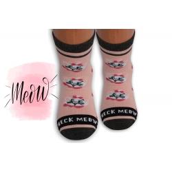 Ružové detské ponožky s mačičkami
