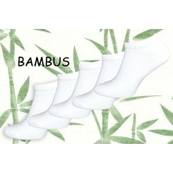 5-párov bambusových bielych ponožiek