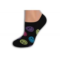 Čierne smajlíkové pevne držiace ponožky