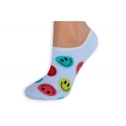 Biele smajlíkové pevne držiace ponožky