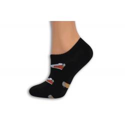 Čierne extra nízke ponožky so skeatom