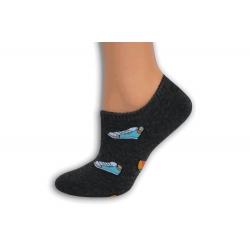 Šedé extra nízke ponožky so skeatom
