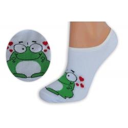 Biele neviditeľné ponožky so žabkou