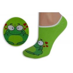 Zelené neviditeľné ponožky so žabkou