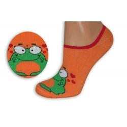 Oranžové neviditeľné ponožky so žabkou