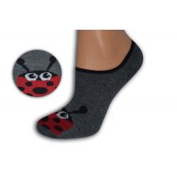 Šedé neviditeľné ponožky s lienkou