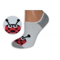 Bielo-sivé neviditeľné ponožky s lienkou