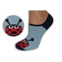 Modré neviditeľné ponožky s lienkou