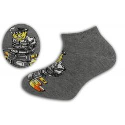 Kotníkové šedé ponožky so stavebnicovým panáčikom