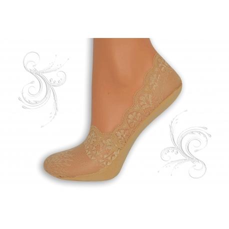 Telové balerínkové ponožky z krajky