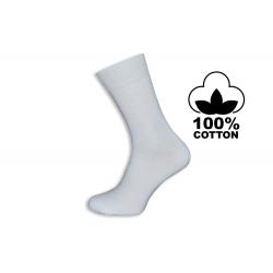 100% bavlna. Biele pánske vysoké ponožky