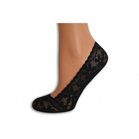 Čierne krajkové balerínkové ponožky