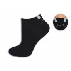 Čierne bambusové ponožky s mačičkou