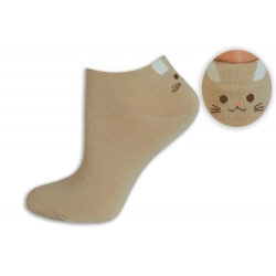 Telové bambusové ponožky s mačičkou