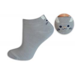 Sivé bambusové ponožky s mačičkou