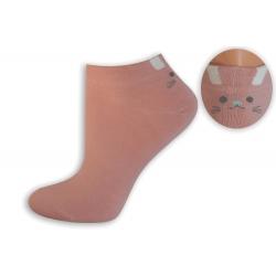 Ružové bambusové ponožky s mačičkou