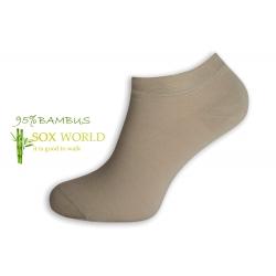 95%-né bambusové členkové ponožky - hnedá