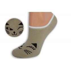 Telové teniskové ponožky s tvárou mačky