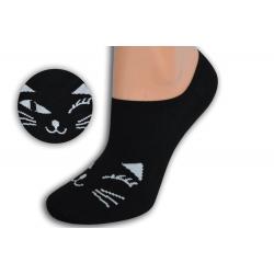 Čierne teniskové ponožky s tvárou mačky
