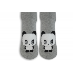 Sivé vysoké ponožky s pandou