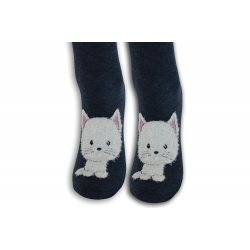 Modré vysoké ponožky s mačičkou