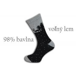 98%-né bavlnené teplé ponožky - čierne