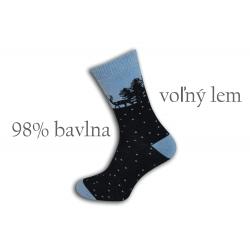 98%-né bavlnené teplé ponožky - modré