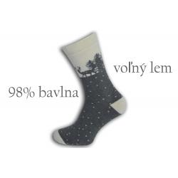 98%-né bavlnené teplé ponožky - sivé